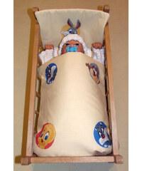 SDS Peřinky do postýlky pro panenky Looney Tunes žlutá bavlna 38x44cm