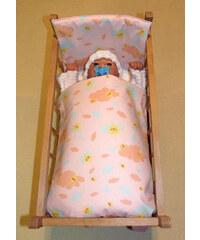 SDS Peřinky do postýlky pro panenky Sluníčka růžová bavlna 38x44cm