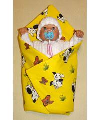 SDS Rychlozavinovačka pro panenky Pejsci žlutá KREP bavlna 60x60 cm