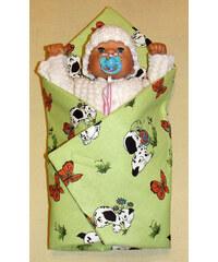 SDS Rychlozavinovačka pro panenky Pejsci zelinkavá KREP bavlna 60x60 cm