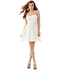 Guess Šaty Strapless Jacquard Party Dress