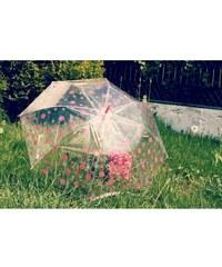 Deštník s růžovým puntíkem průhledný