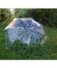 Deštník s černým puntíkem průhledný