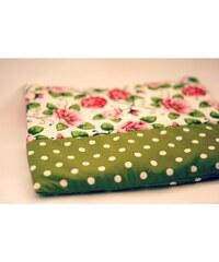 Lindy Bop Nahřívací polštářek zelený s puntíkem a růžemi
