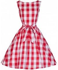 Lindy Bop Šaty Lindy Bop vintage bílé s červenými pruhy