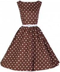 Lindy Bop Šaty Lindy Bop čokoládové s bílým puntíkem