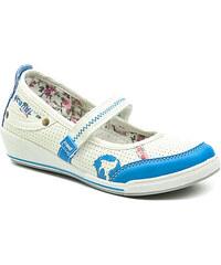 Dětská obuv Scandi 42-0537-T1 bílo modré baleríny na klínku