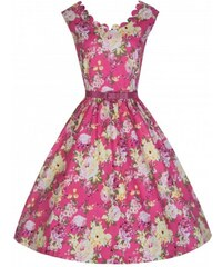 Lindy Bop Šaty Lindy Bop růžové s květy