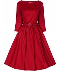 Lindy Bop Šaty Lindy Bop červené s dlouhým rukávem