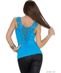 Dámský top s krajkou na zádech - modrý
