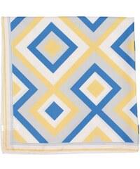Zlatý hedvábný šátek s modrým kostičkovým vzorem, A Piece of Chic