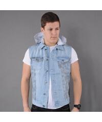 Urban Classics Hooded Camo Denim Vest light blue