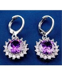 003 Visací naušnice kytka - fialový kámen