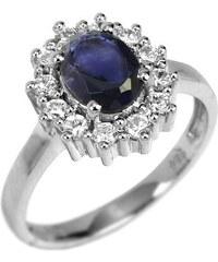 Silvego Luxusní stříbrný prsten s polodrahokamem iolit 49 mm
