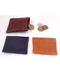 Arwel tmavě hnědá kožená kapsa na mince s pružinou