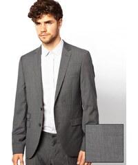 Esprit - Eng geschnittene Jacke mit kleinem Karomuster - Grau