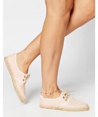 Soludos - Chaussures derby plates en lin à lacets style espadrilles - Corail - Rose