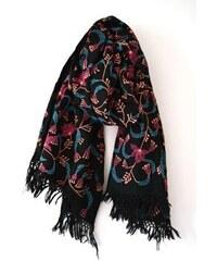 Rostlinný šátek černý s růžovou