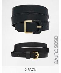 ASOS CURVE - Lot de 2 ceintures avec un modèle fin et un modèle pour jean - Noir