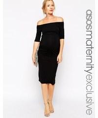 ASOS Maternity ASOS Maternité - Robe à encolure Bardot et manches mi-longues - Noir