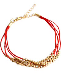 Červený náramek Gold pearl
