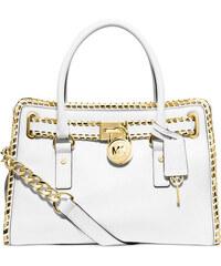 Bílá kožená kabelka Michael Kors Hamilton whipped gold