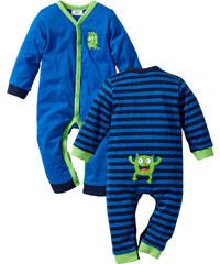 bpc bonprix collection Lot de 2 grenouillères bébé à manches longues en coton bio bleu enfant - bonprix