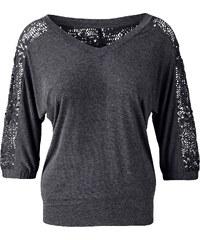 T-shirt manches 3/4 gris femme - bonprix