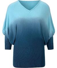 BODYFLIRT Pull bleu manches 7/8 Flatteur femme - bonprix