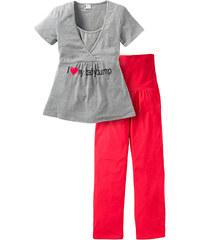 bpc bonprix collection Nice Size Pyjama de grossesse (Ens. 2 pces.) gris manches courtes femme - bonprix
