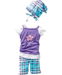bpc bonprix collection Robe + T-shirt + legging + foulard (Ens. 4 pces.) violet manches courtes enfant - bonprix
