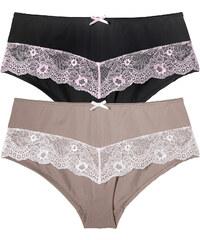 BODYFLIRT Lot de 2 culottes noir lingerie - bonprix