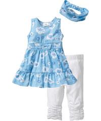 bpc bonprix collection Robe + bandeau + legging 3/4 (Ens. 3 pces.) bleu enfant - bonprix