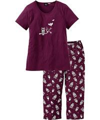 bpc bonprix collection Pyjama corsaire violet manches courtes lingerie - bonprix