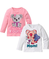 bpc bonprix collection Lot de 2 T-shirts bébé à manches longues en coton bio rose enfant - bonprix