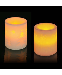 Lesara Flammenlose LED-Kerze mit Weihnachtsmotiv - Design 1