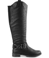 Marco Tozzi - Vysoké kozačky na nízkém podpatku a přezkou 2-25505-23 / černá