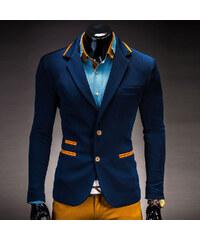 OMBRE Slim Fit-Sakko mit gelben Details - Blau - L