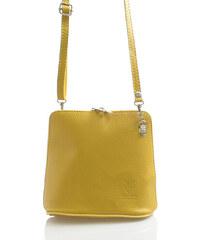 Horčicová dámska kožená crossbody kabelka - ItalY 10053 žltá cd76883bd19