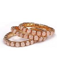 Krásná Bižu Sada náramků stretch stones růžová Z094