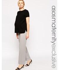 ASOS Maternity - Pantalon coupe large à revers - Gris