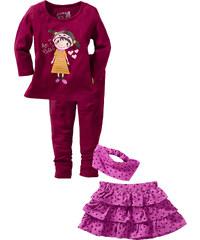 bpc bonprix collection T-shirt + jupe + legging + bandeau (Ens. 4 pces.) violet manches longues enfant - bonprix