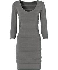 BODYFLIRT Robe en maille gris manches 3/4 femme - bonprix