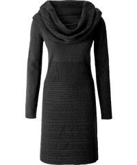 BODYFLIRT Robe en maille noir manches longues femme - bonprix