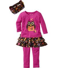 bpc bonprix collection T-shirt + jupe + legging + bandeau (Ens. 4 pces.) fuchsia manches longues enfant - bonprix