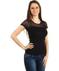 TopMode Krásné tričko s průhlednou vsadkou černá