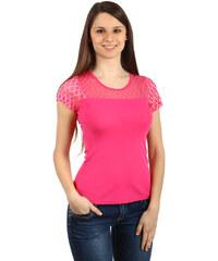 TopMode Krásné tričko s průhlednou vsadkou růžová