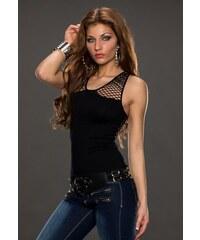 BEST EMILIE děrované dámské tričko - černé