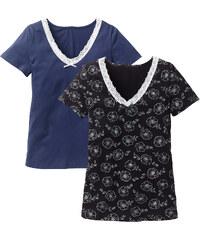 bpc selection Kurzarmshirt (2er-Pack) in schwarz für Damen von bonprix