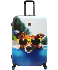 Saxoline blue, Trolley mit Hundemotiv und 4 Rollen, »Happy Dog«